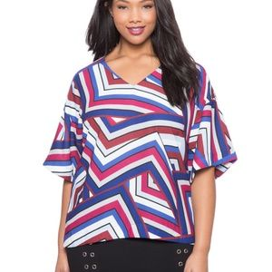 Eloquii Abstract Striped Tunic